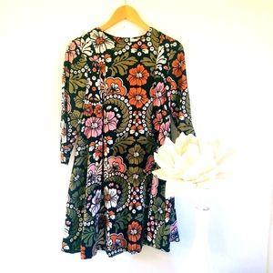 H&M Mini Dress Pleated Tunic Floral Boho Size 10